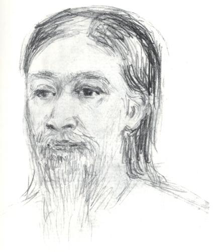 Sri Aurobindo's portrait by The Mother